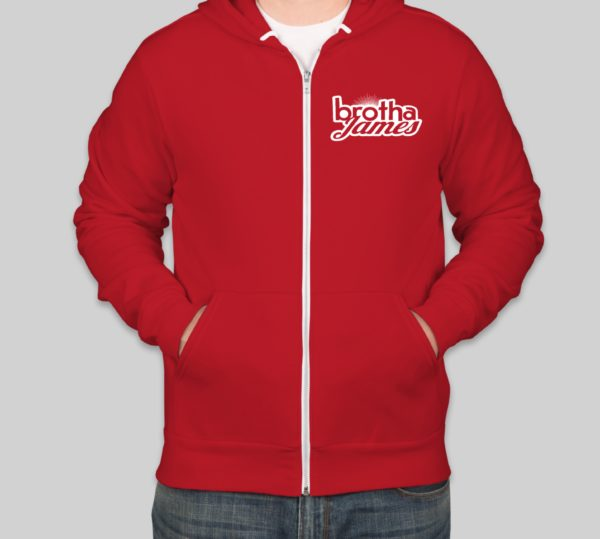 Red sweater front | Brotha James